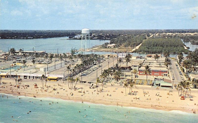Hollywood Florida~Birdseye Beachfront Panorama~Water Tower~1950s Postcard