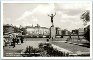 Stockholm, SWEDEN Real Photo RPPC Postcard Strömparterren Park & Grand Hotel