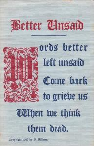 Motto Postcard Better Unsaid Copyright Hillson