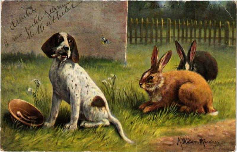 CPA Rabbit & puppy DOGS (745986)