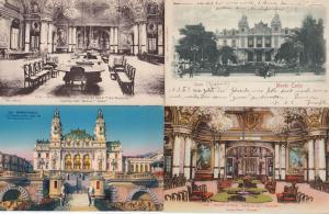Monte Carlo Casino incl Roulette Tables 4x Antique Postcard s