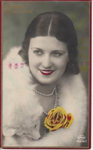 Lovely lady portrait 1933 photo postcard tinted colors hairstyle rose fox fur