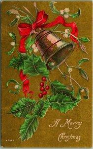 Vintage 1910s CHRISTMAS Postcard Gold Bell Red Ribbon Holly / Mistletoe #4205