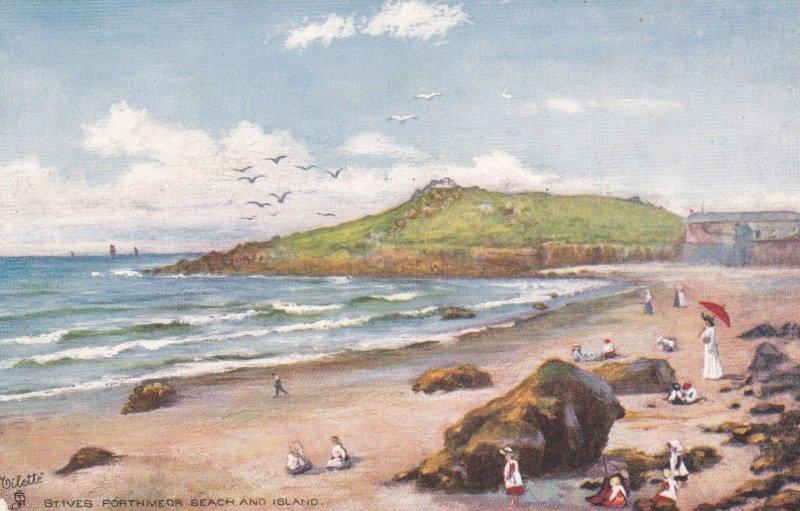 TUCK #7025; ST. IVES, Cornwall, England, United Kingdom; Porthmeor Beach and ...