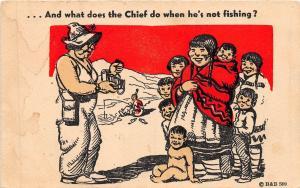 A53/ Native American Indian Postcard Comic c1920 Sex Chief Fishing Kids 27