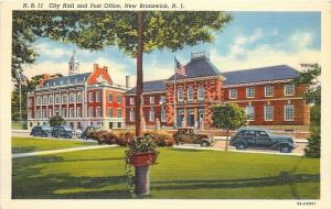 New Brunswick New Jersey~City Hall & Post Office~Antique Cars~1940s~Post Card