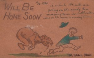 LEATHER ; Bear chases man , We will be home soon , 1906