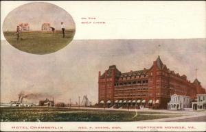 Fortress Monroe VA Hotel Chamberlin c1910 Postcard GOLF GOLFING Exc Cond