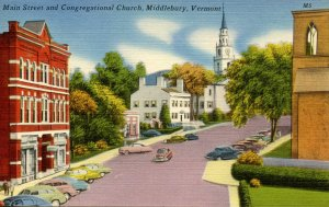 VT - Middlebury. Main Street & Congregational Church