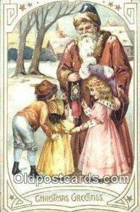 Santa Claus Chirstmas Carte, Postal Postal 1907 top looks trimmed