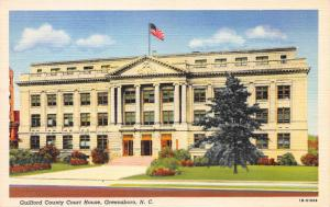 Guilford County Court House, Greensboro, N.C., Early linen Postcard, Unused