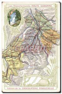 Old Postcard MAPS Chocolaterie d & # 39Aiguebelle Haute Garonne Luchon heart ...