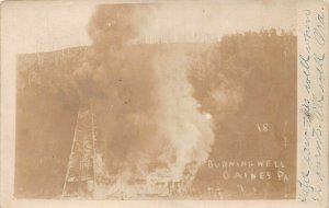LPS55 Gaines Pennsylvania Burning Well Postcard RPPC