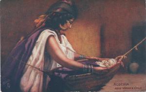 Algeria, Arab Woman & Child, early postcard, Unused