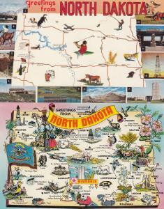 North Dakota 2x Map Postcard s