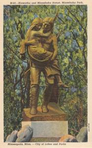 Hiawatha and Minnehaha Statue at Minneapolis MN, Minnesota - Linen