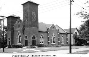 Brookfield Missouri~Presbyterian Church~House Behind~1950s Real Photo Postcard