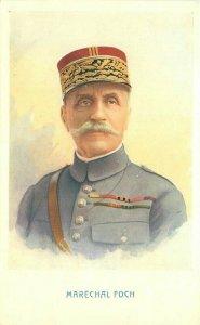 1918 Patriotic WW1 French General Marechal Foch artist Postcard 21-10511