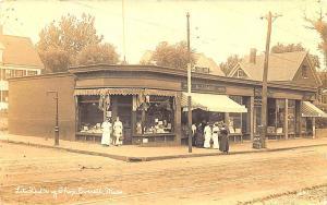 Everett MA Litch's Drug Shop Bakery Insurance Agency RPPC Postcard