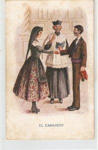J. Ibañez. Caricature. The Marriage. El Casament Vintage Spanish postcard