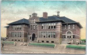 Muskogee Oklahoma Postcard JEFFERSON SCHOOL Building Students Hand-Colored 1910s