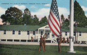 BILOXI, Mississippi, 30-40s; Lowering the Flag at Retreat, Keesler Field