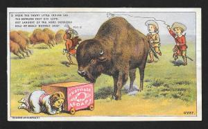 VICTORIAN TRADE CARD Bell's Soap Cowboys & Indians Buffalo
