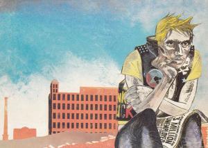 Ilfracombe Unemployment Dole Punk Rock Rocker Devon Rare Painting Postcard