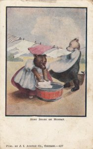 Busy Bears on Monday hanging laundry up to dry, PU-1906