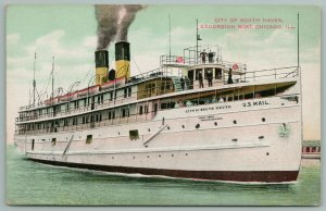 Chicago IL~City of South Haven Excursion Steamer~US Mail~Passengers on Deck~1908