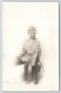 Eastbourne East Sussex~Maurice Handcock w/ Sand Pail~WL Amos Photo~1917 RPPC