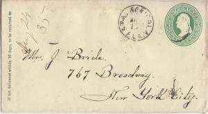 APALACHICOLA FL - early POSTAL CANCEL on EMBOSSED ENVELOPE
