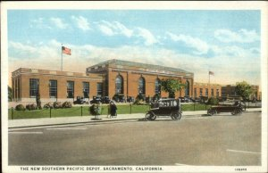 Sacramento CA New South Pacific RR Train Depot Station c1920 Postcard