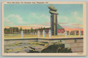 Wilmington Delaware~The Rocks Fort Christiana Park~1940s Linen Postcard