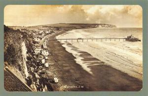 Nostalgia Postcard Sandown, Beach & Pier, Isle of Wight Reproduction Card NS45