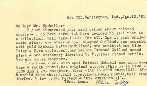 Cedar Rapids~Response Card Sell Cruets~$100 For 7~John Nickolls~Darlington~1961