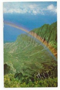 KALALAU VALLEY, Kauai, Hawaii, 1940-60s; Rainbow over Garden Isle