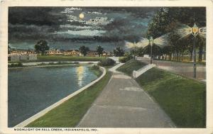Indianapolis Indiana~Moonlight on Fall Creek~Night Lights Homes~1919
