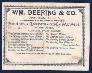 VICTORIAN TRADE CARD Wm Deering & Co Binders Reapers & Mower