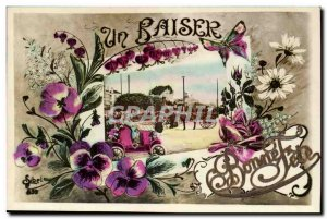 Old Postcard Fancy A kiss Good party (relief map) SPECIAL (butterfly automobi...