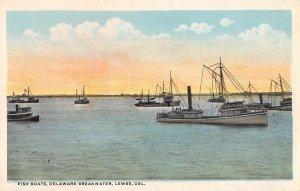 Lewes Delaware Breakwater Fish Boats Vintage Postcard AA39875