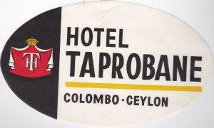 Sri Lanka Colombo Hotel Taprobane Vintage Luggage Label lbl0990