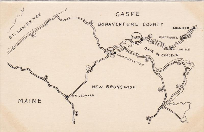 Gaspe Canada Map.Gaspe Quebec Canada 1930s Map Baie Des Chaleurs Log Cabins