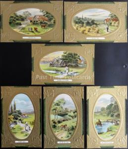 Set of 6 Postcard shows COUNTRY LIFE HARVEST SUMMER DAY by Wildt & Kray 1804