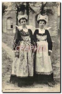 Old Postcard Costumes Pont Aven (cap folklore)