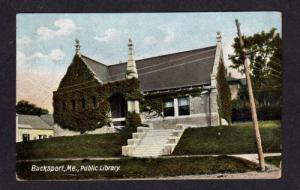 ME Buck Public Library BUCKSPORT MAINE POSTCARD 1907