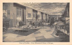Chicago Illinois~New Bismarck Hotel~Interior Lobby~1930s B&W Postcard