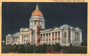 Little Rock, AR, State Capitol at Night, 1947 Linen Vintage Postcard f9724