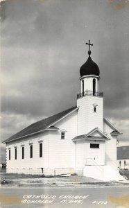 F79/ Bowman North Dakota RPPC Postcard c1940s Catholic Church 2