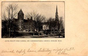 Spencer, Massachusetts - David Prouty High School & Congregational Church - 1904